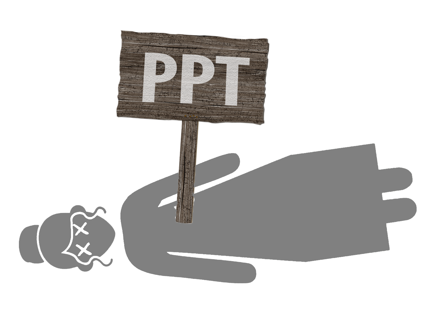 "An image of a woman with x's for eyes, stabbed through the chest with a sign that says ""PPT."""