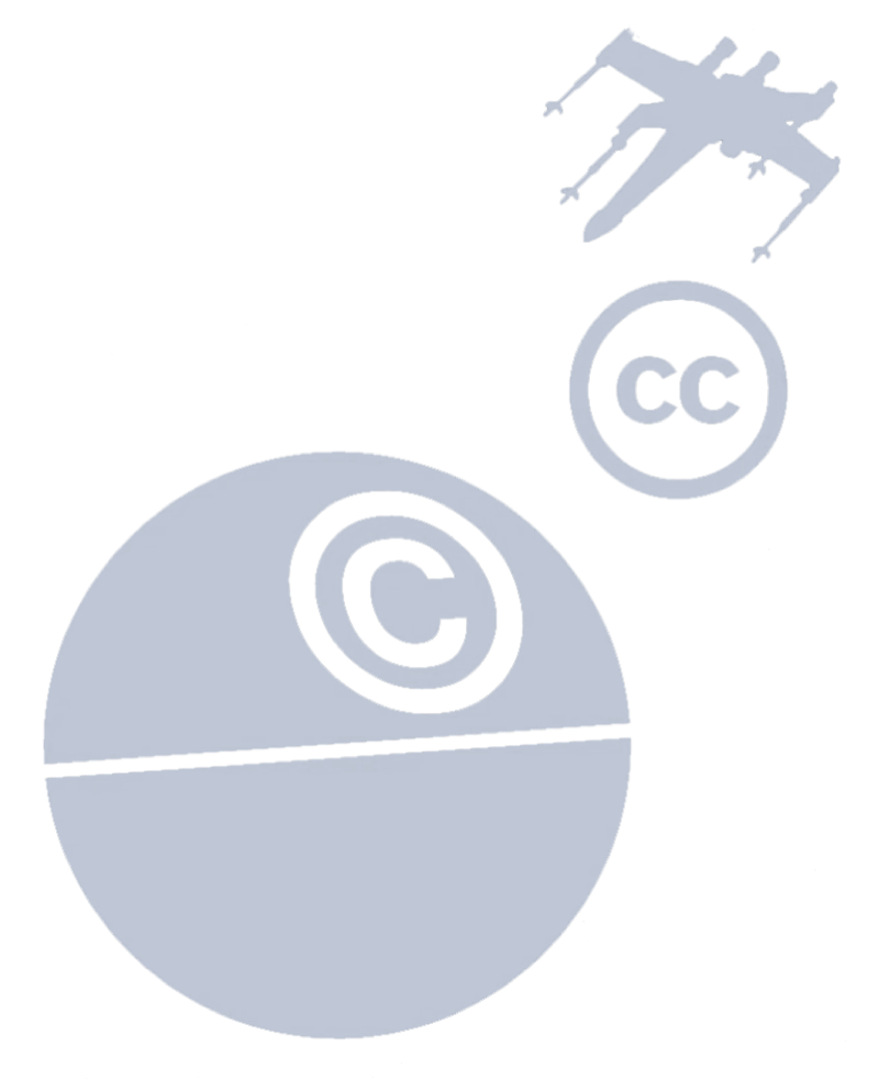 An image of the Death Star (labeled with the copyright symbol) and an X-Wing fighter (labeled with the Creative Commons logo).